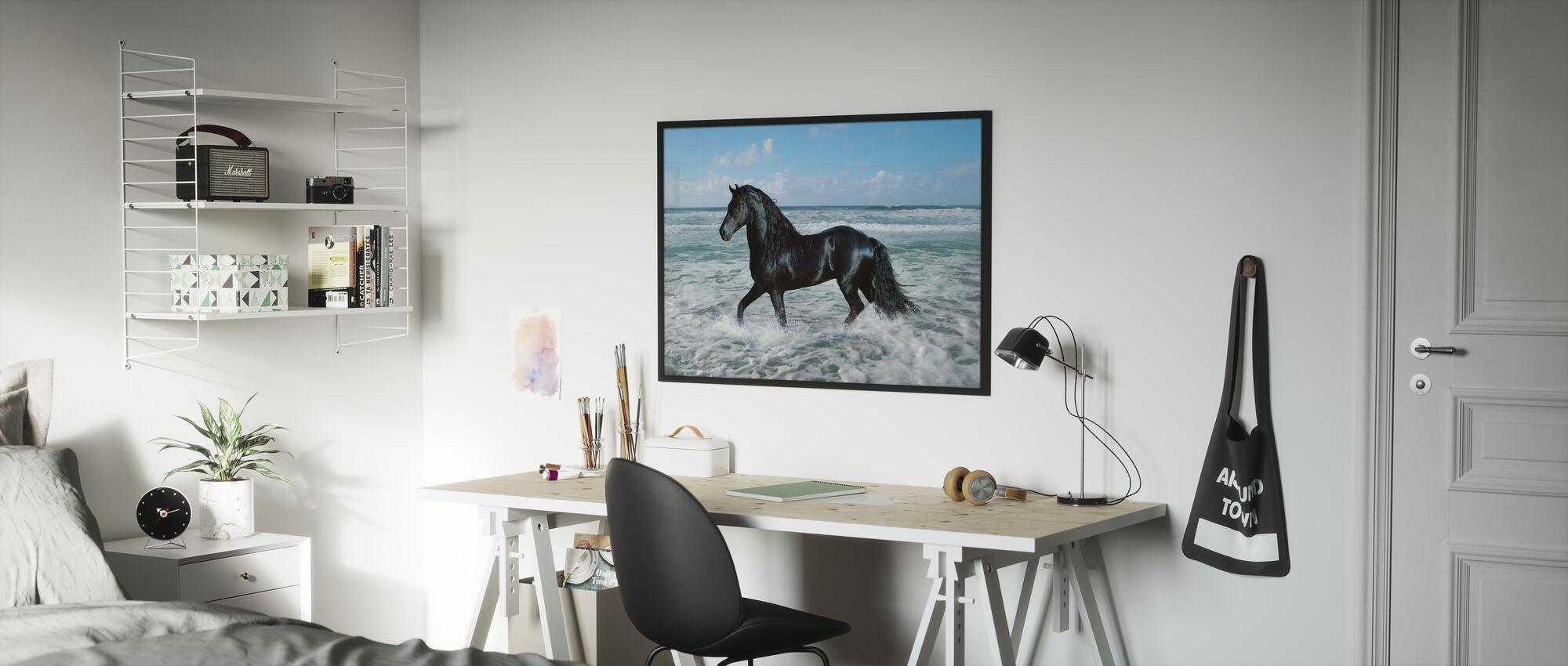 Häst badning - Inramad tavla - Barnrum