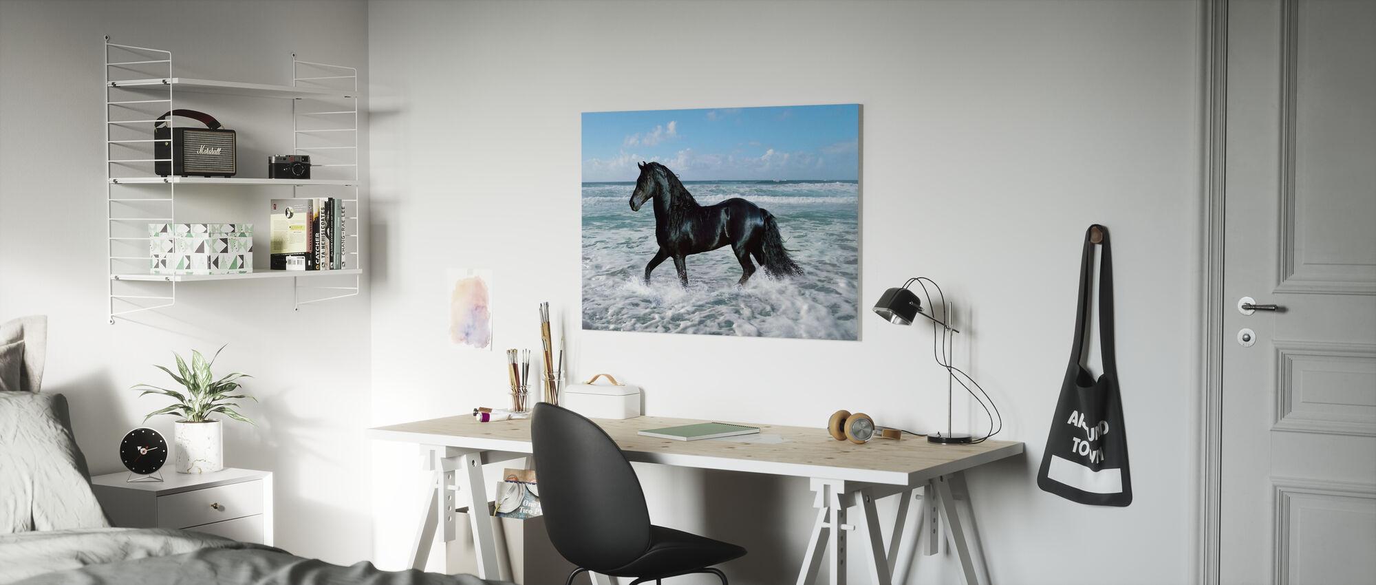 Horse Bathing - Canvas print - Kids Room
