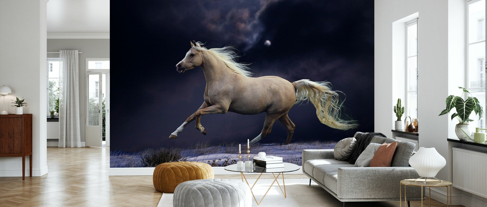 Horse in Moonlight - Wallpaper - Living Room