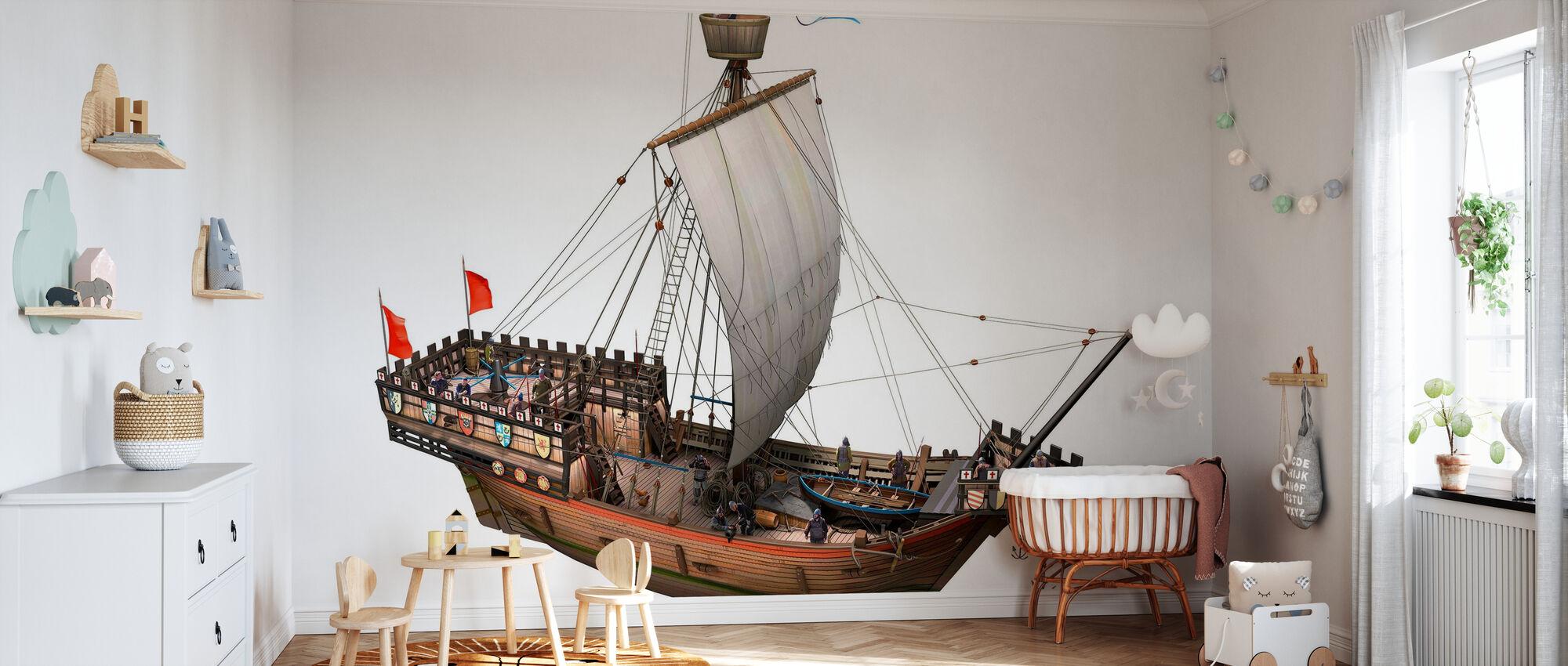 Pirate ship - Wallpaper - Nursery