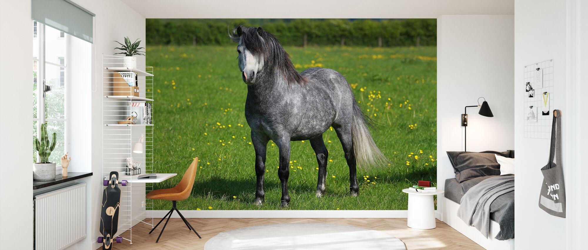 Häst på Grön och Gul Äng II - Tapet - Barnrum