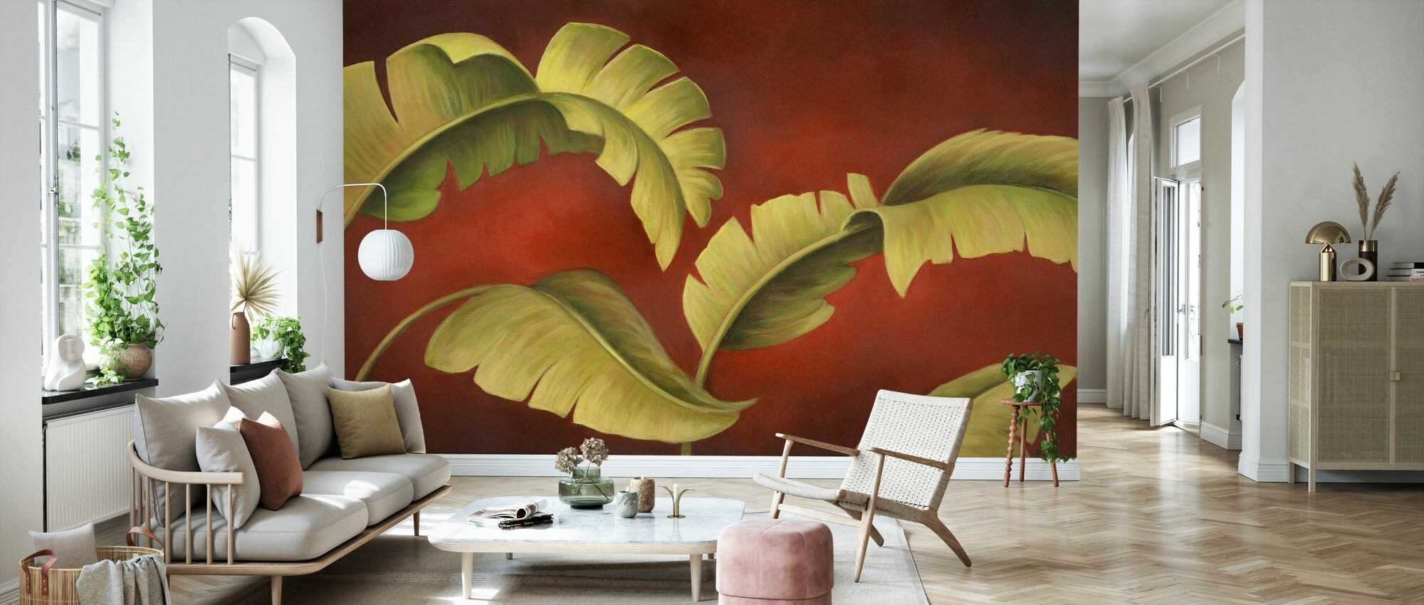 Palmen auf Burgund - Tapete - Wohnzimmer