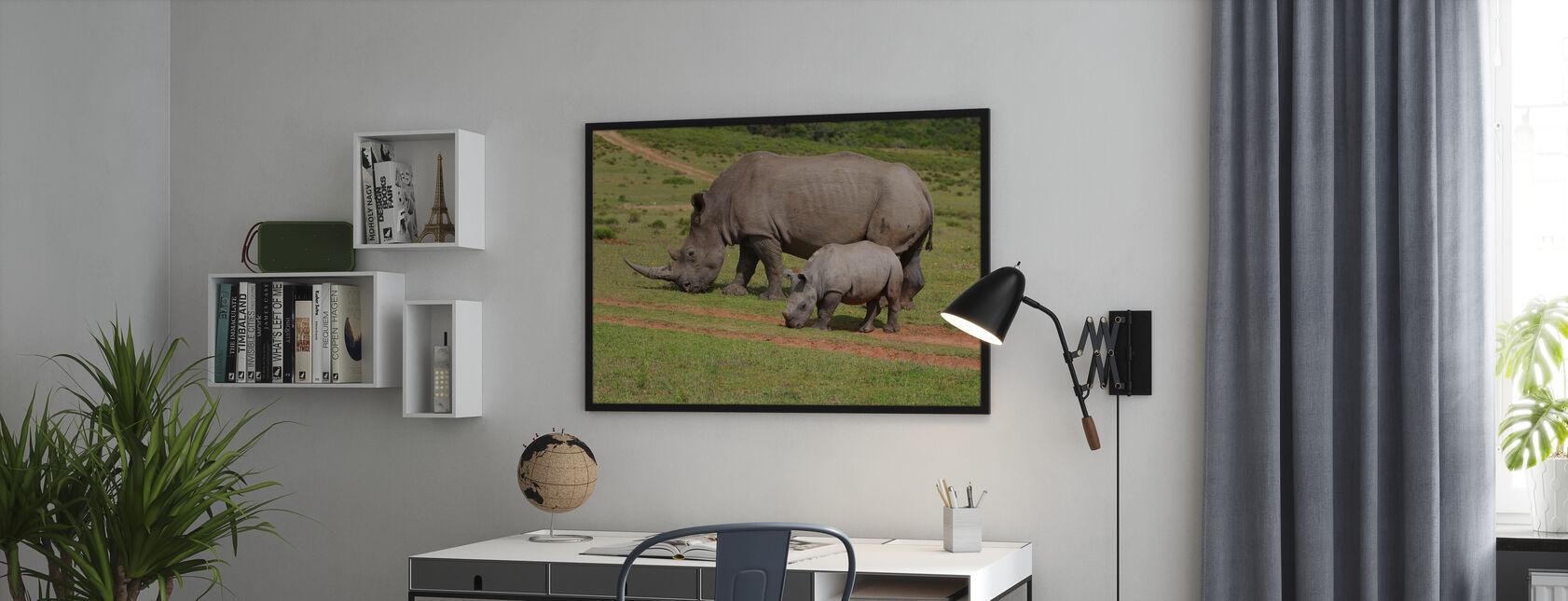 Grazing White Rhinoceros - Framed print - Office