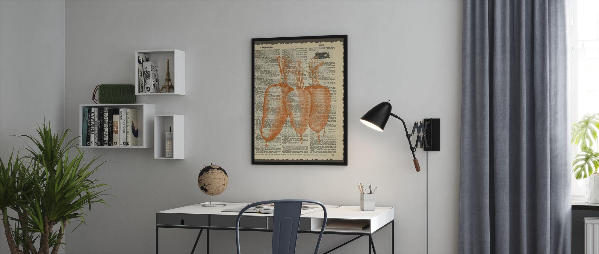 Wortelen en Tekst - Ingelijste print - Kantoor