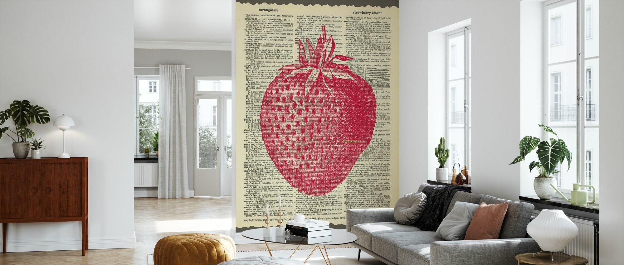 Erdbeere und Text - Tapete - Wohnzimmer