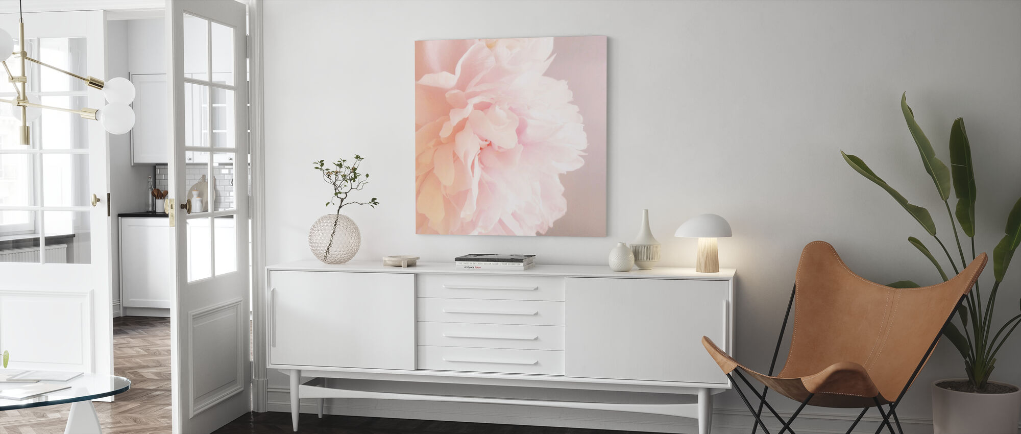 Light Pink Peony - Canvas print - Living Room