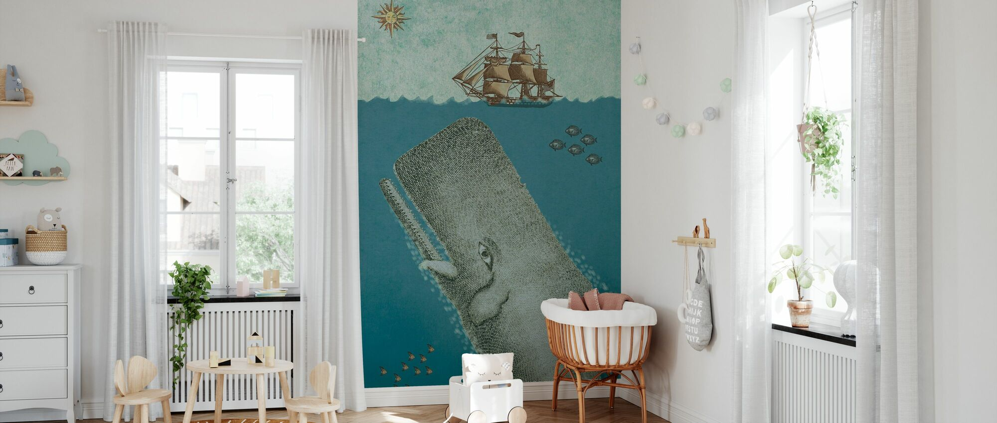 Whale and Ship - Wallpaper - Nursery