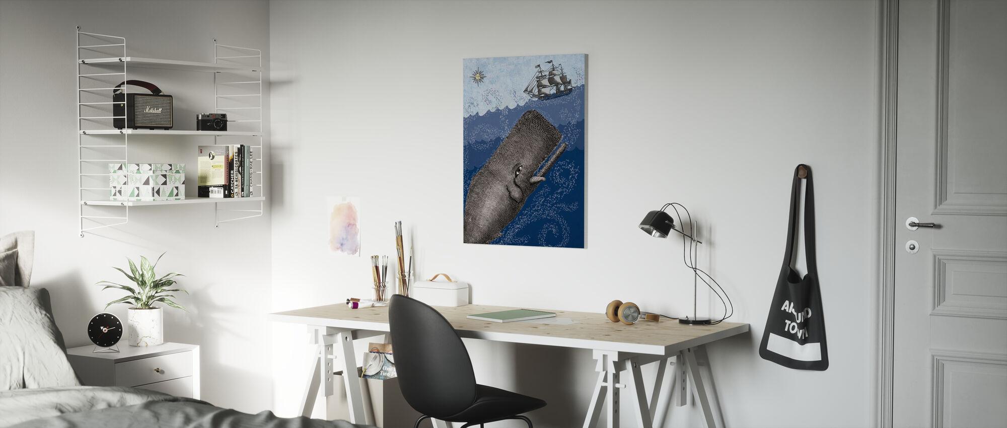 Whale and Ship - Dark Blue - Canvas print - Kids Room
