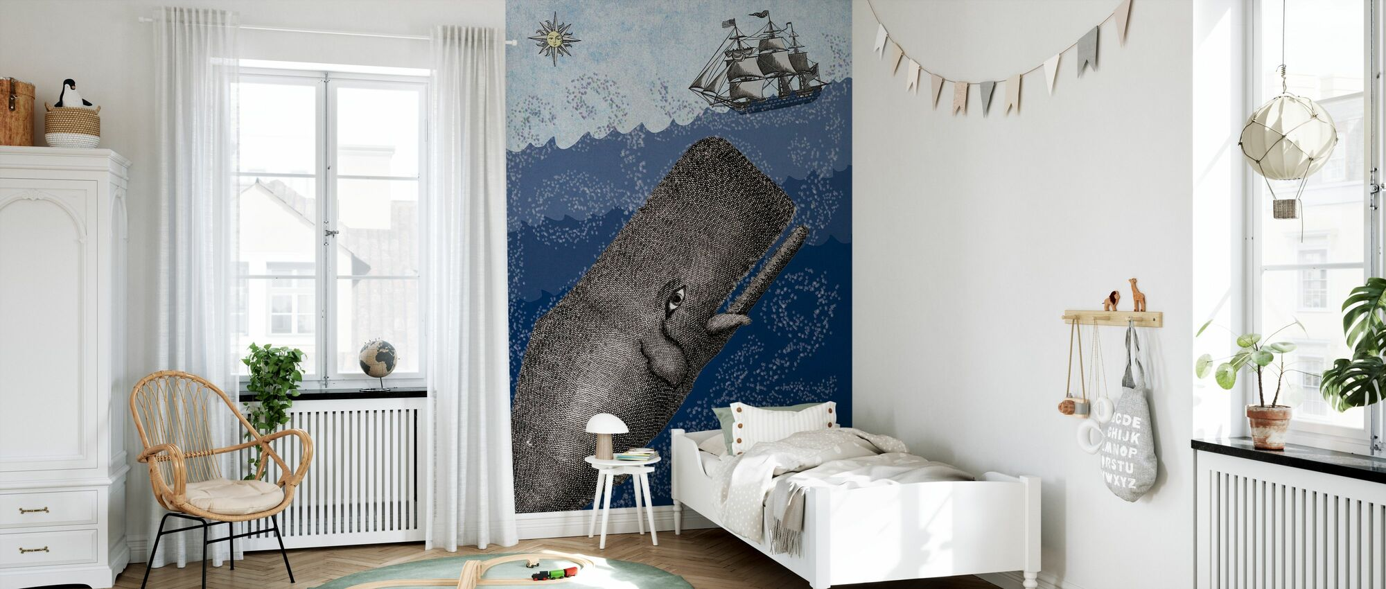 Whale and Ship - Dark Blue - Wallpaper - Kids Room