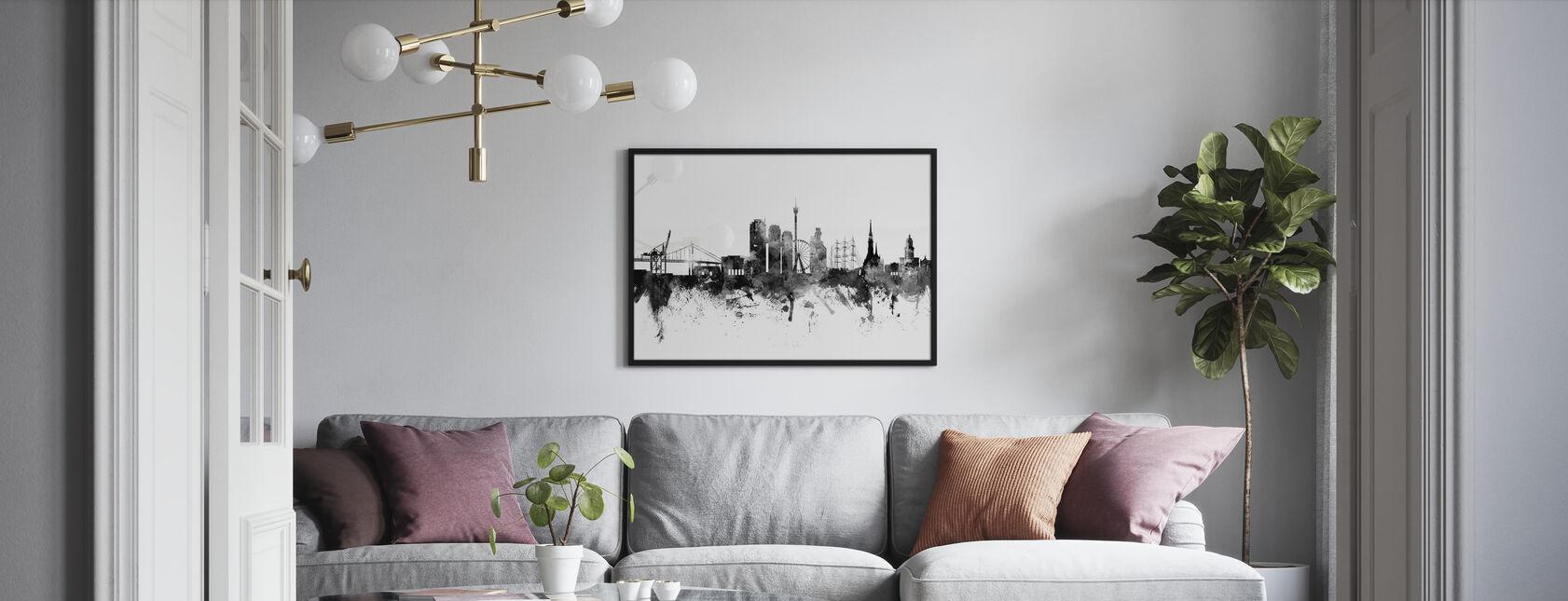 Göteborg Skyline Black - Inramad tavla - Vardagsrum