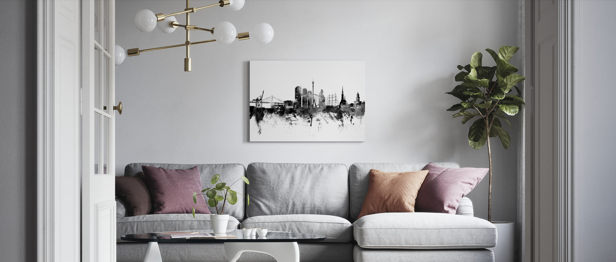 Göteborg Skyline Black - Canvas print - Woonkamer