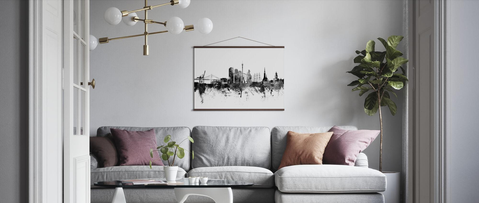 Göteborg Skyline Black - Poster - Woonkamer