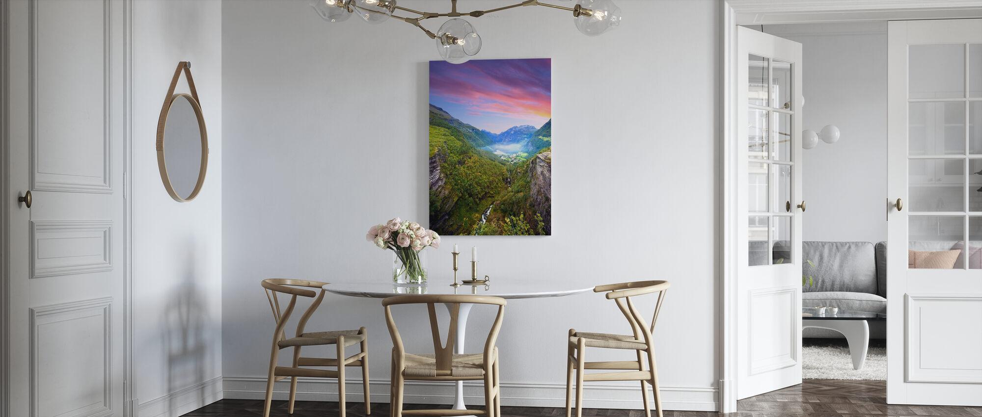 Pink Clouds over Geirangerfjord, Norway - Canvas print - Kitchen