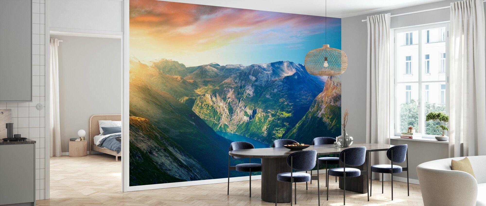 Sunrise over Geirangerfjord, Norway - Wallpaper - Kitchen