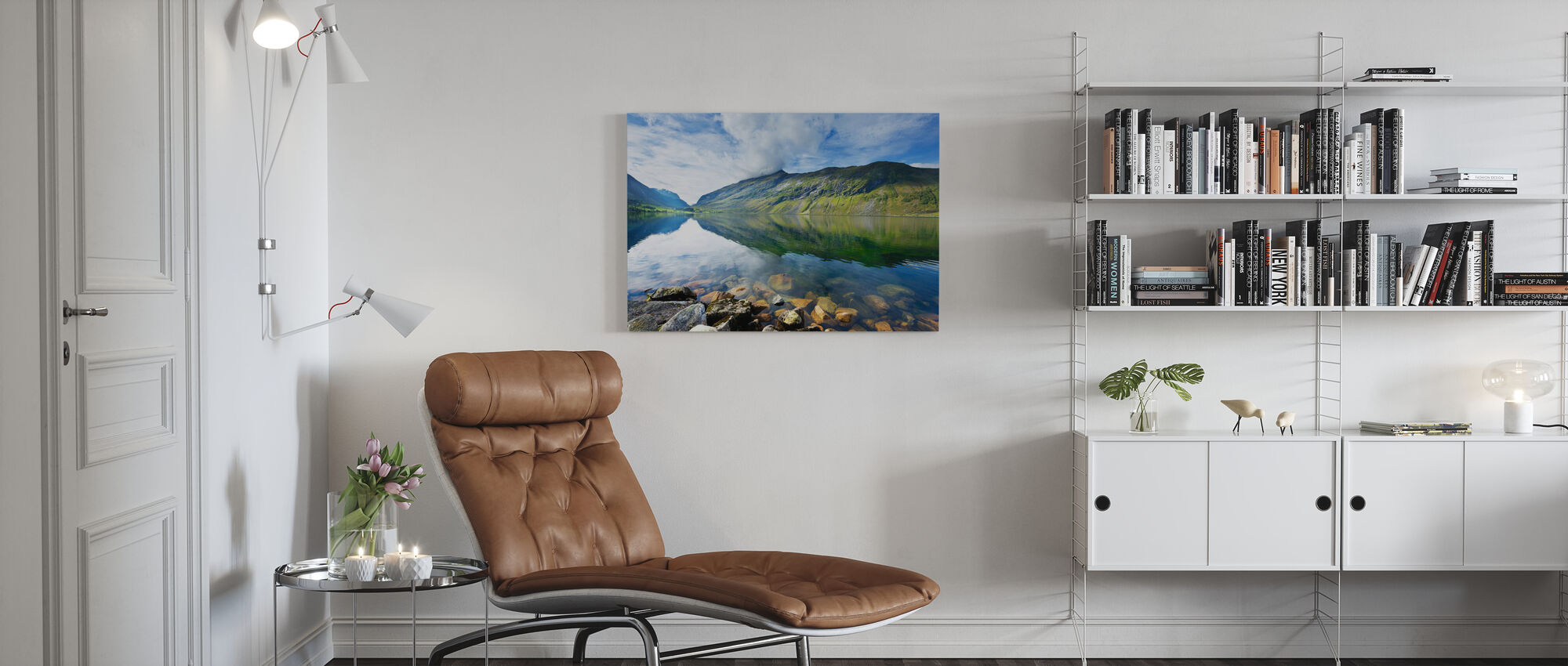 Eidsdal Lake in Geiranger, Norway II - Canvas print - Living Room