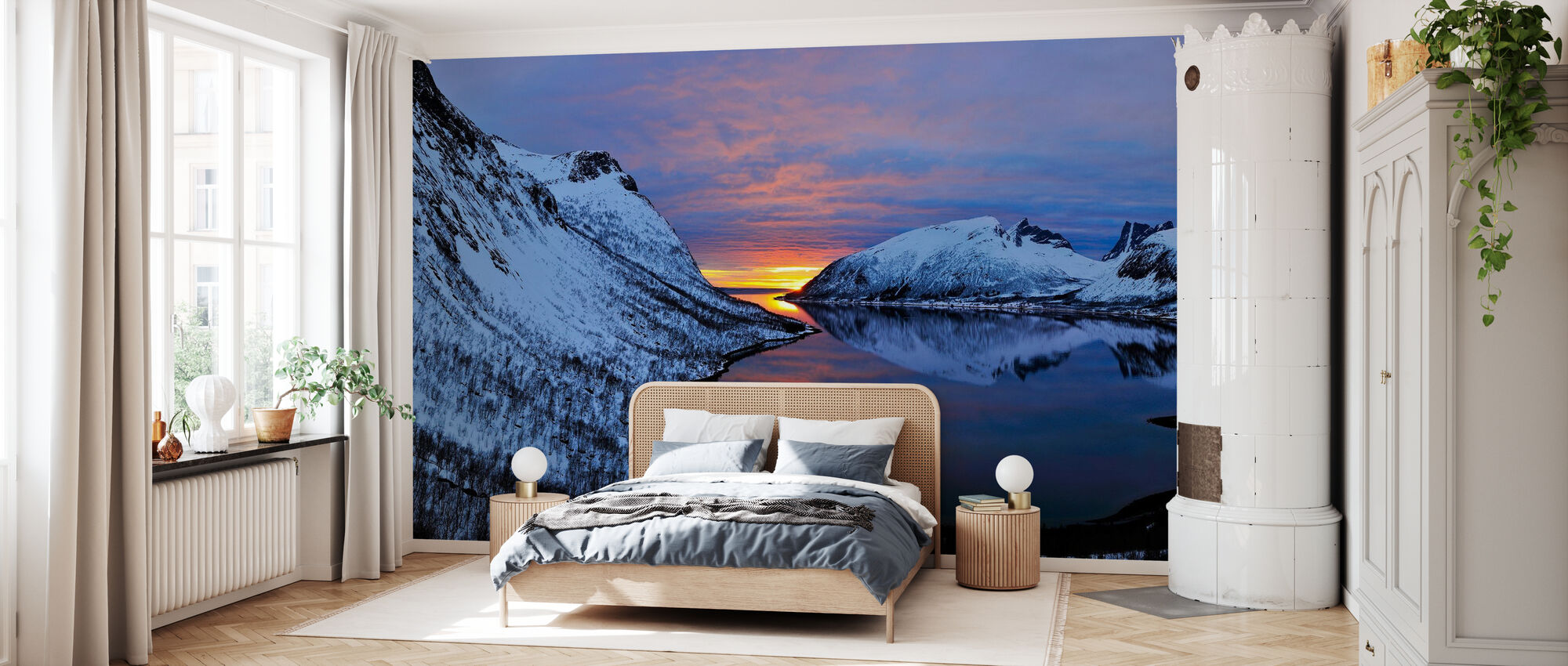 Golden Sunset over Troms, Noorwegen - Behang - Slaapkamer
