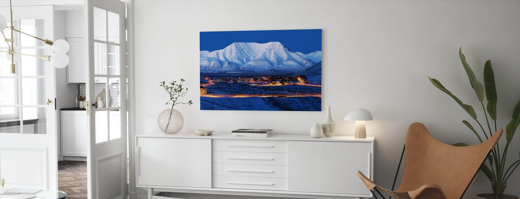 Longyearbyen by Night, Svalbard III - Canvas print - Living Room