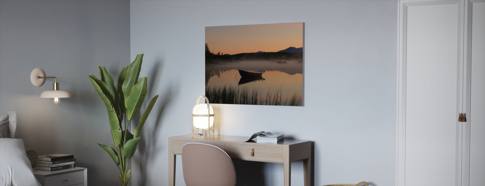 Vredige avond aan het meer, Senja Noorwegen - Canvas print - Kantoor