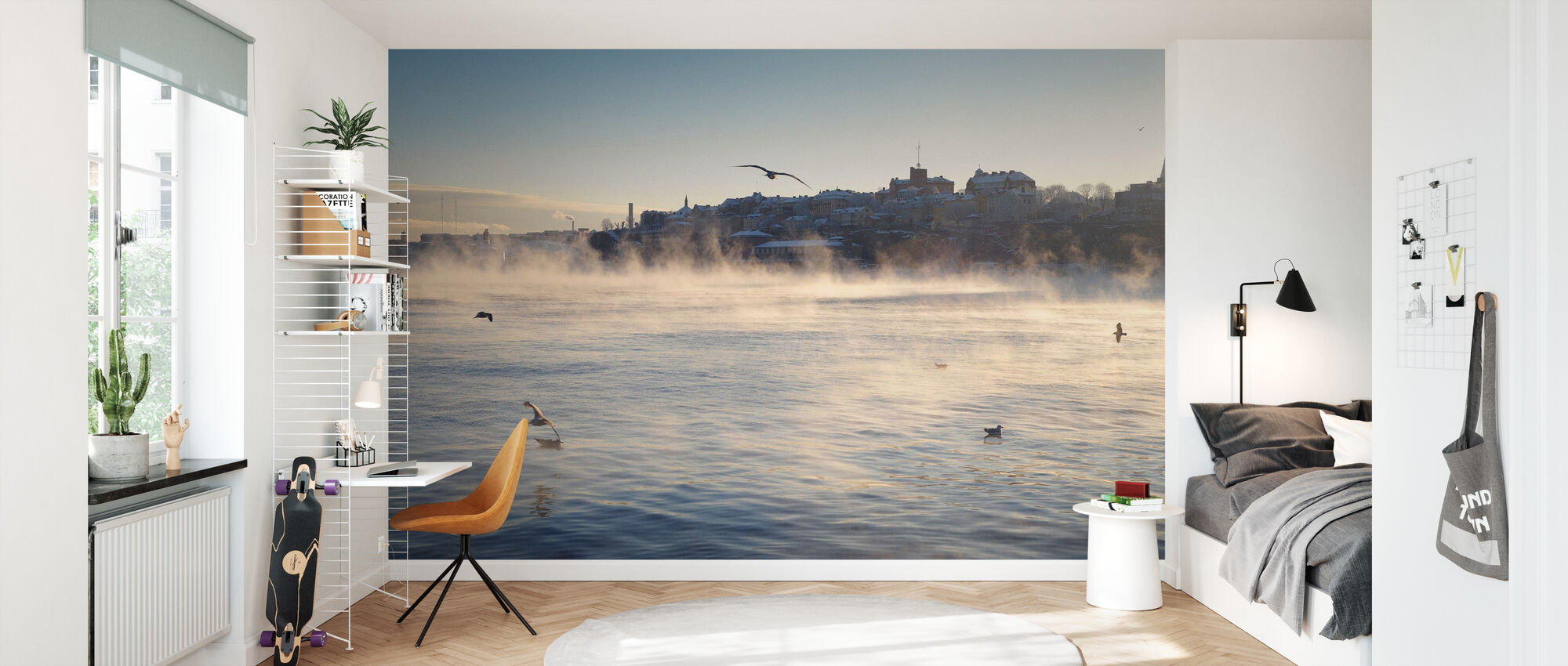 Fog over Stadsgårdskajen in Stockholm - Tapetti - Lastenhuone