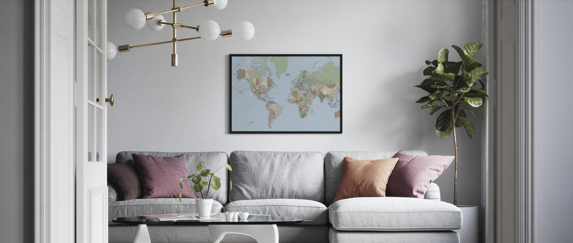 Wereldkaart Vintage - Poster - Woonkamer