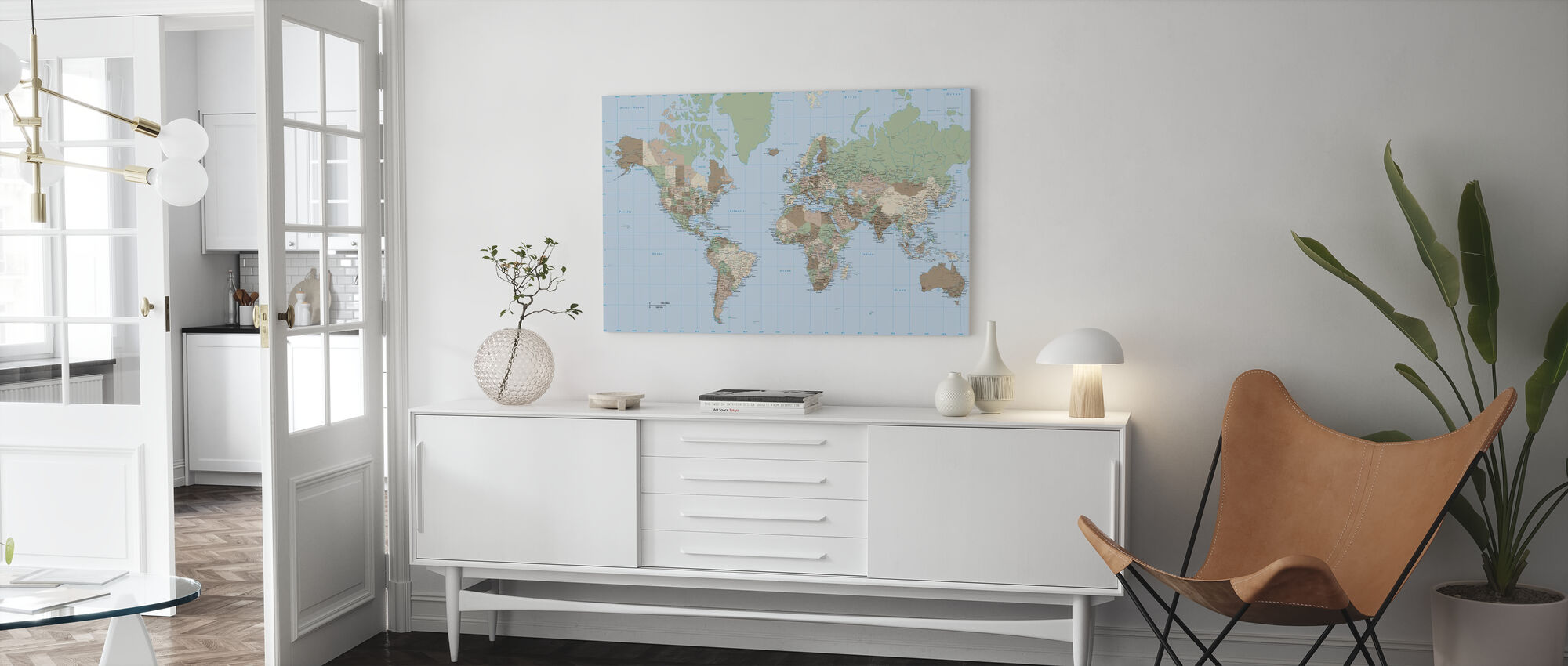 Weltkarte Vintage - Leinwandbild - Wohnzimmer