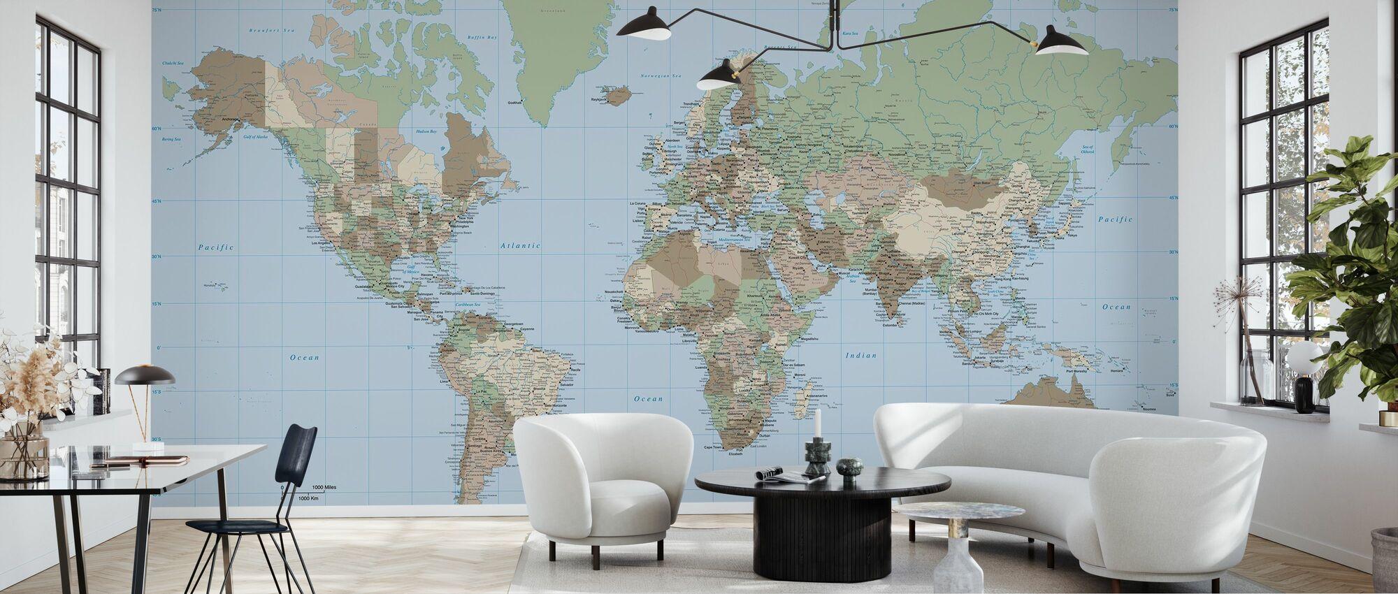 World Map Vintage - Wallpaper - Living Room