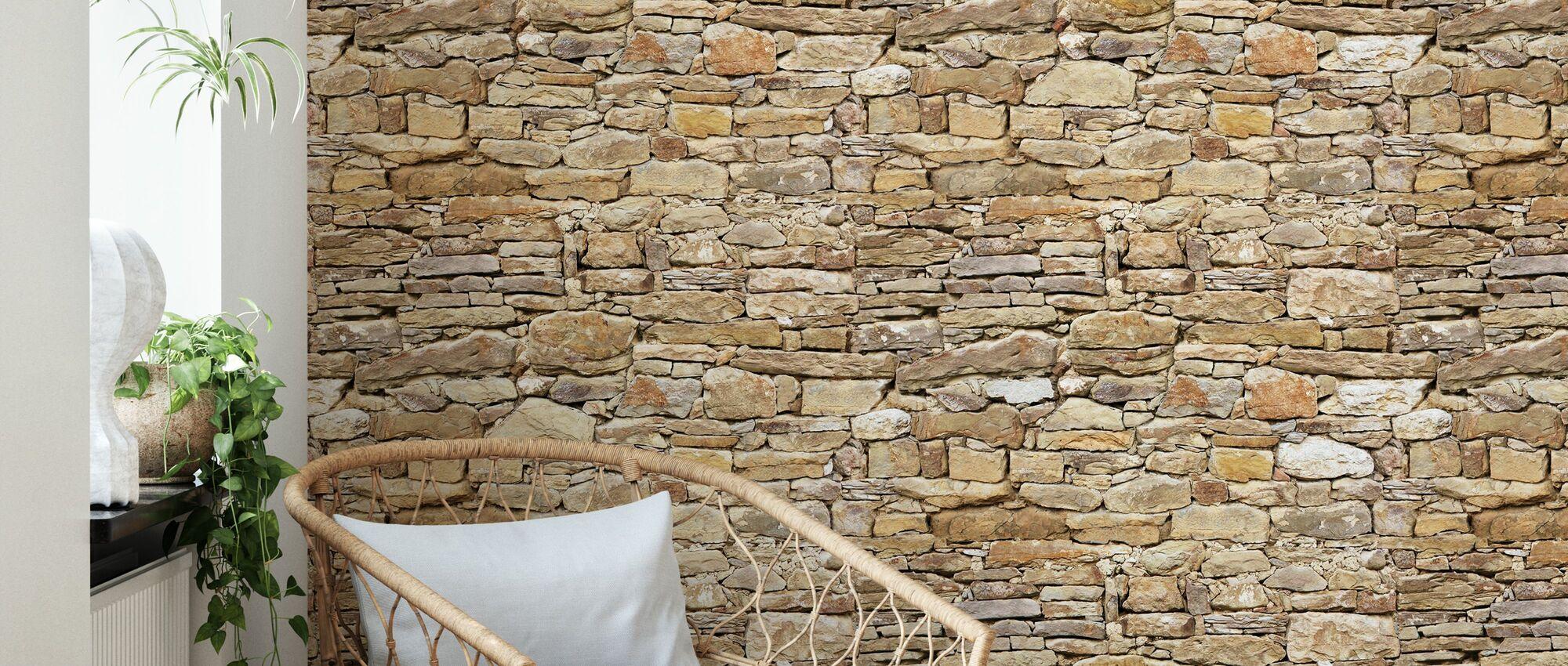 Rustikale Steinmauer - Tapete - Wohnzimmer