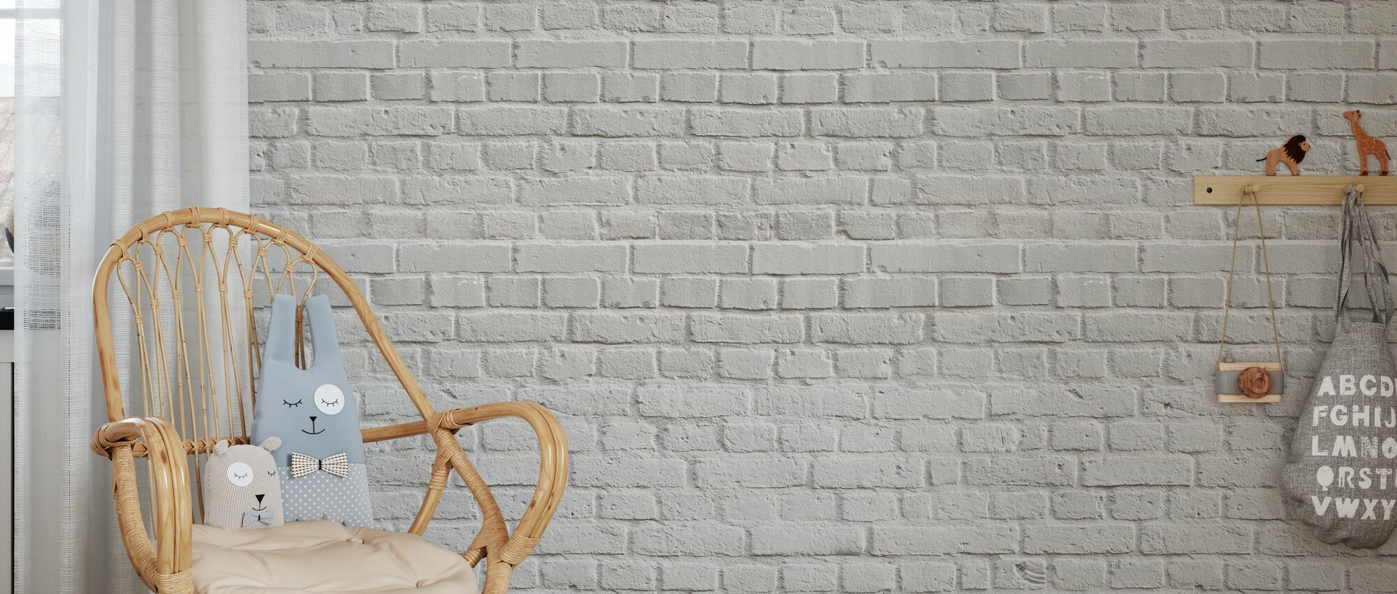 Pared Blanca de Ladrillo Amsterdam - Papel pintado - Cuarto de niños