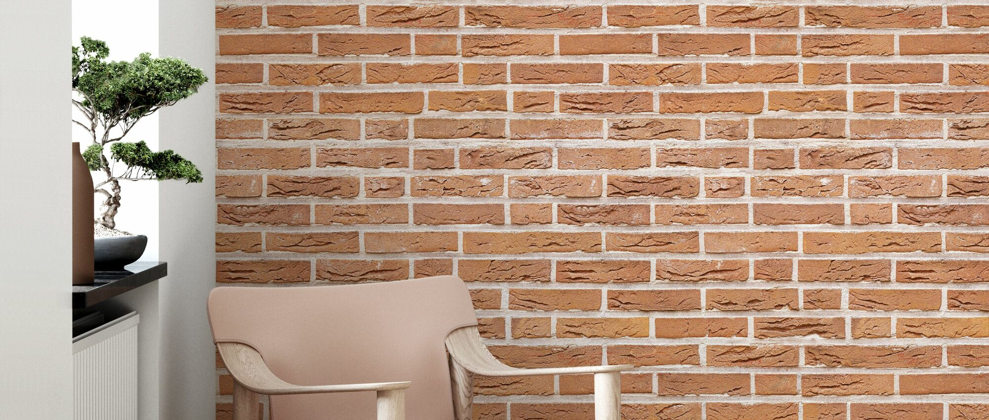 Orange Brick Wall - Wallpaper - Living Room