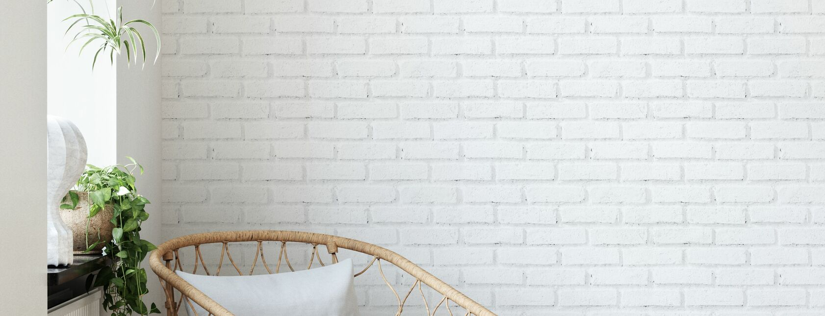 Old White Brick Wall - Wallpaper - Living Room