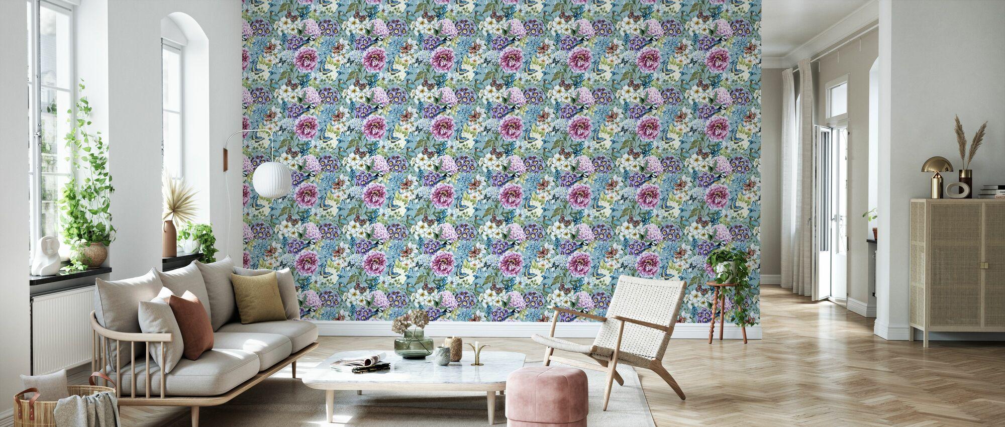 Vintage Floral Akvarel Mønster - Tapet - Stue