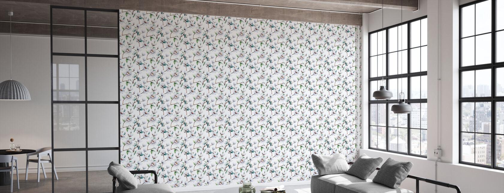 White Magnolia Watercolor Pattern - Wallpaper - Office