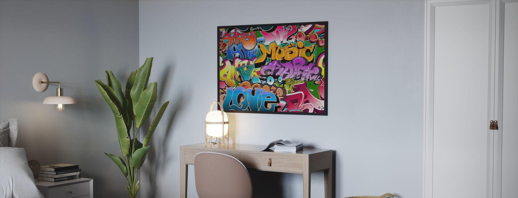 Musik Liebe Graffiti - Gerahmtes bild - Schlafzimmer