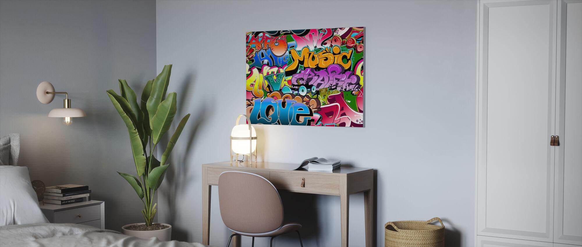 Muziek Liefde Graffiti - Canvas print - Kantoor