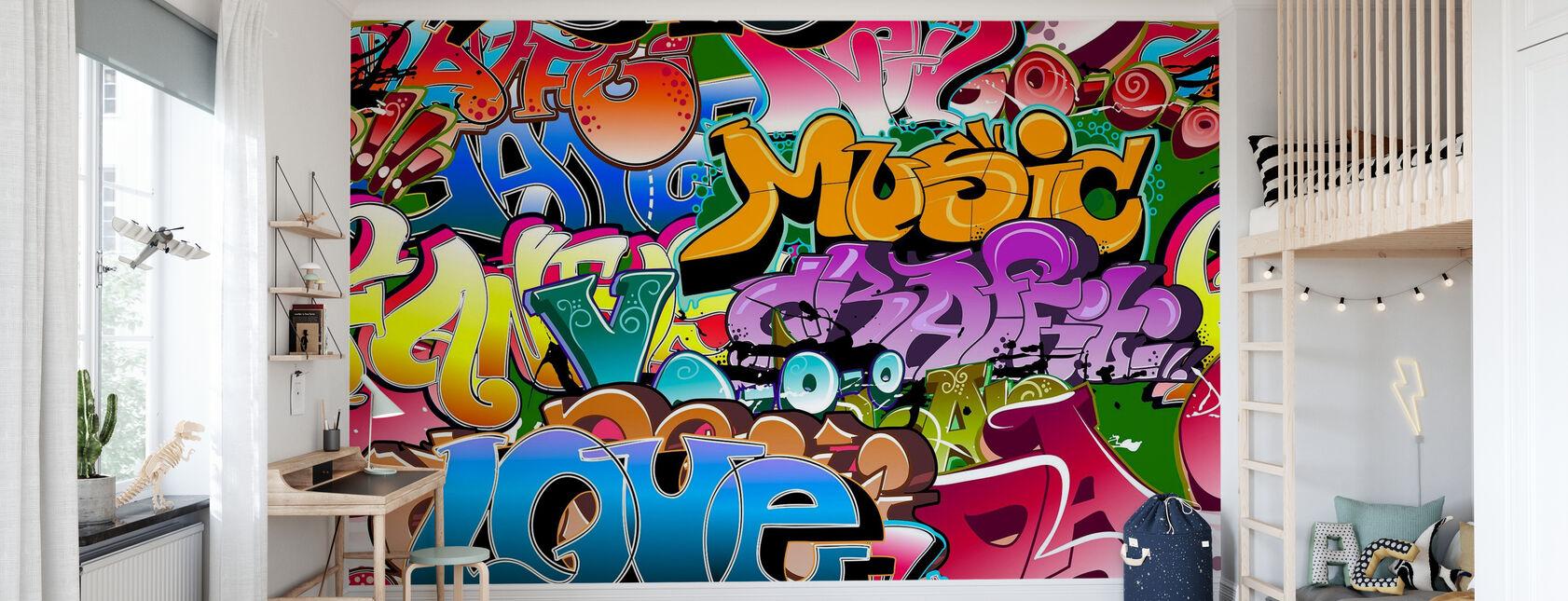 Musik Kærlighed Graffiti - Tapet - Børneværelse