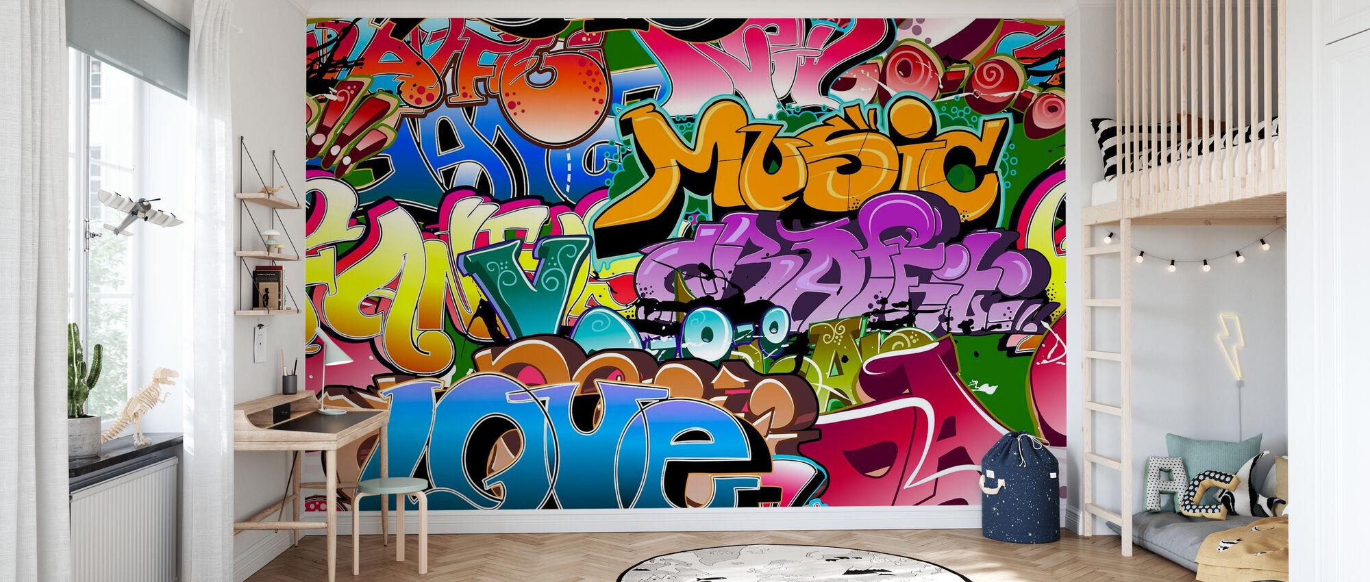 Music Love Graffiti - Wallpaper - Kids Room
