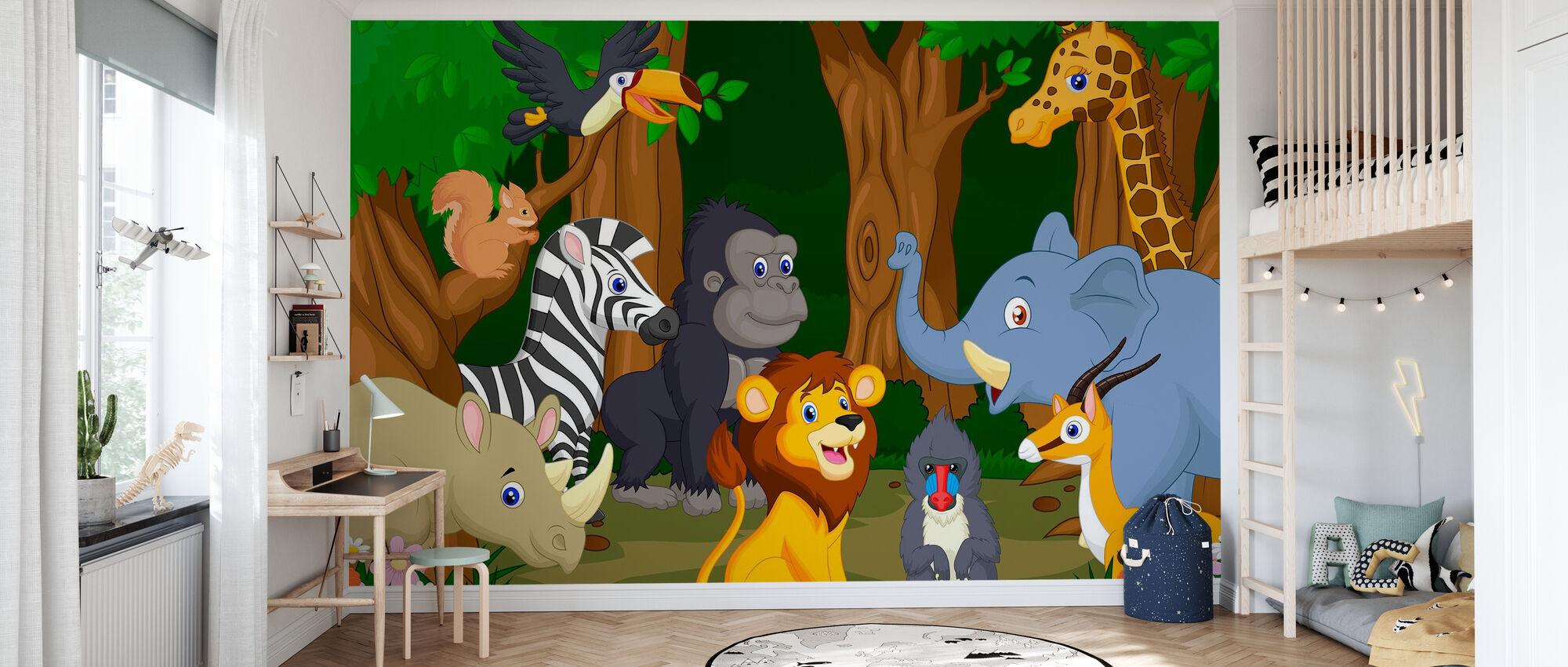 Wild Animal Cartoon - Wallpaper - Kids Room