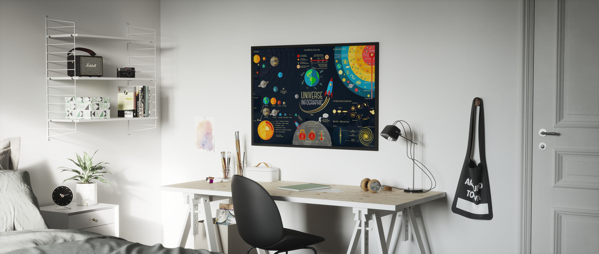 Sett med universets infografikk - Plakat - Barnerom