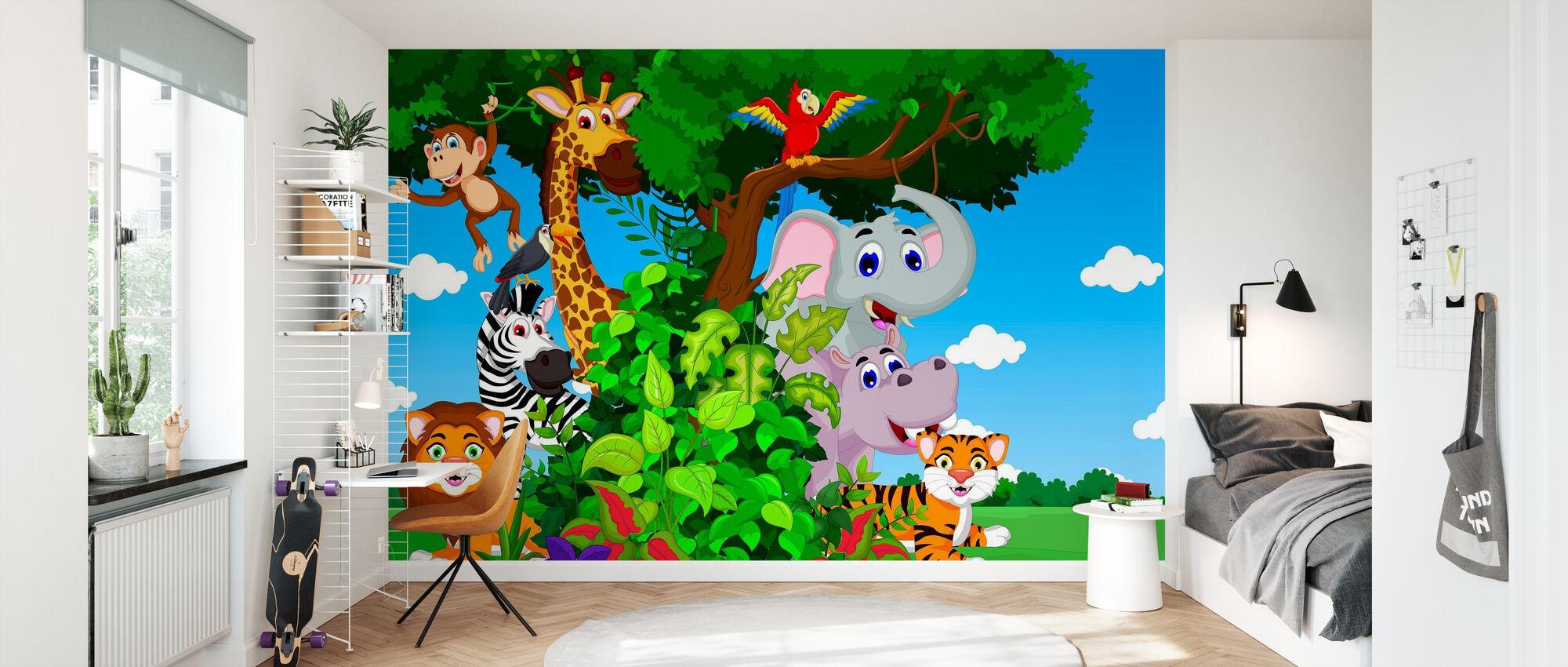 Animals in Forest Cartoon - Wallpaper - Kids Room