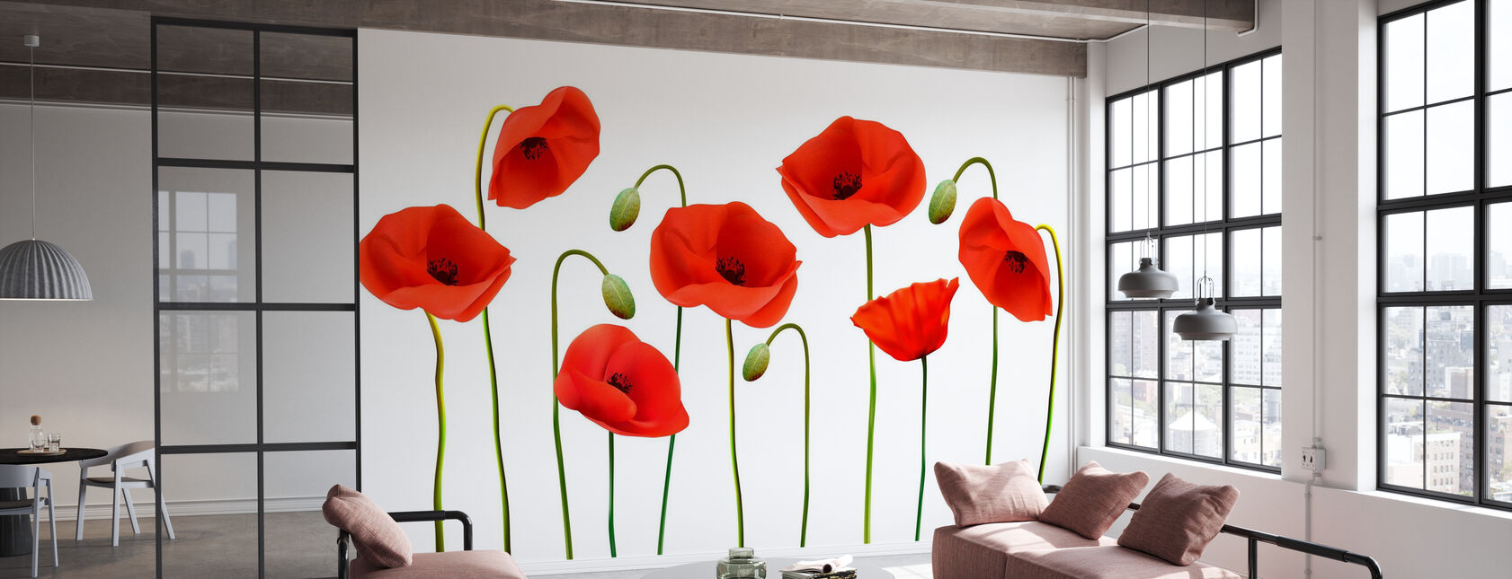 Red Poppies - Wallpaper - Office