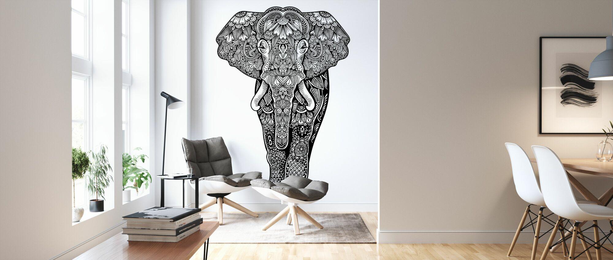 Henna Elephant - Wallpaper - Living Room