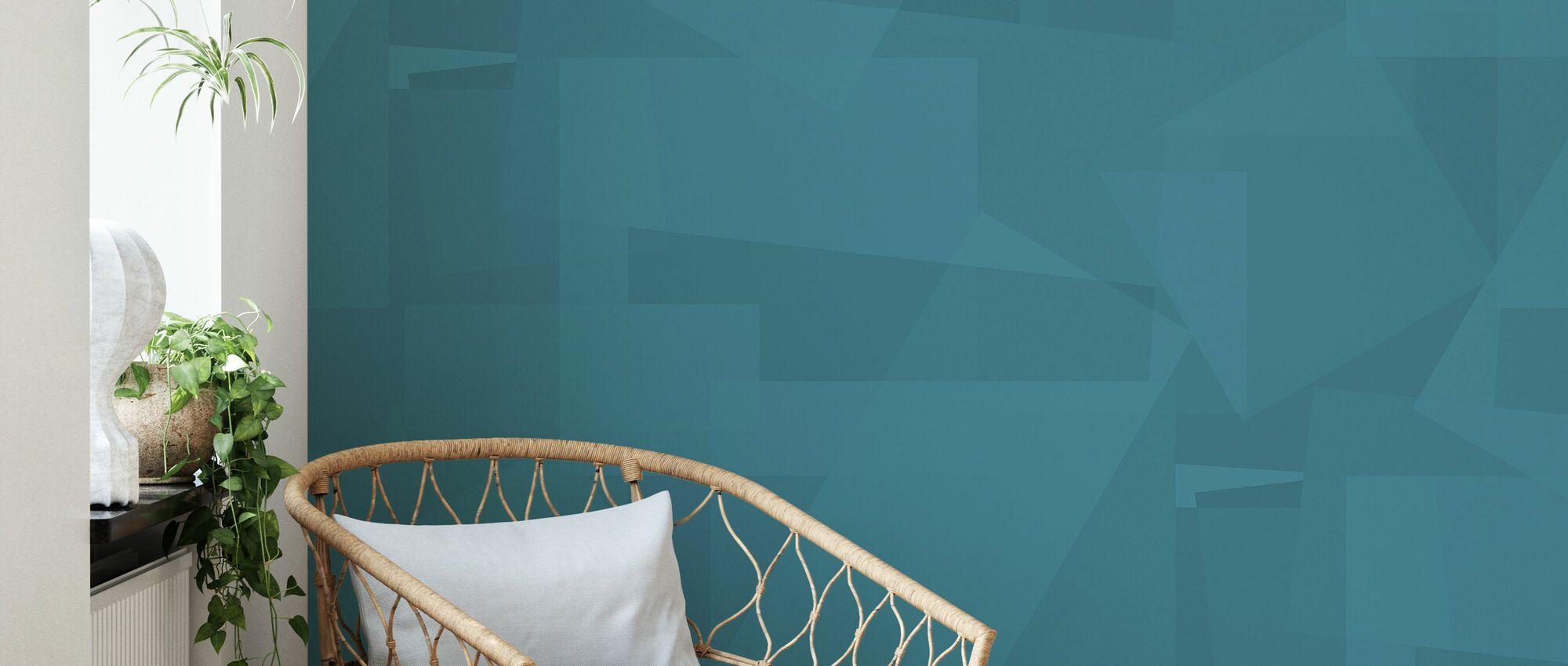 Block Blue - Wallpaper - Living Room