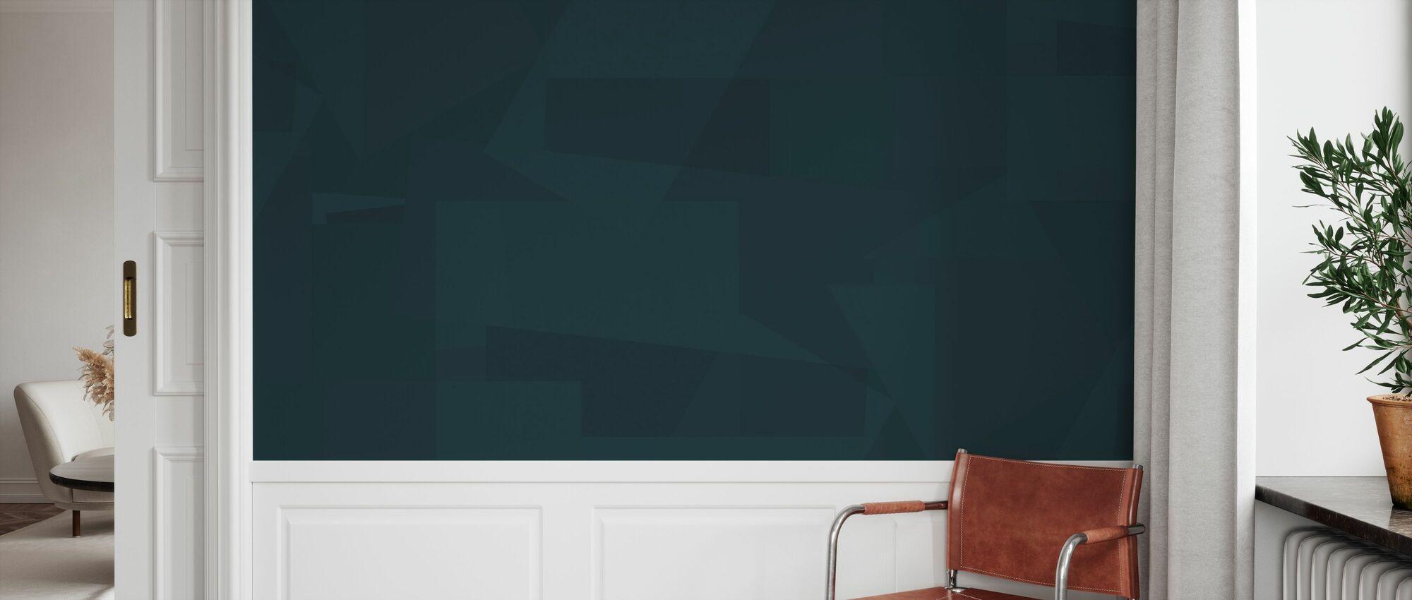 Block Dark Aqua - Wallpaper - Hallway