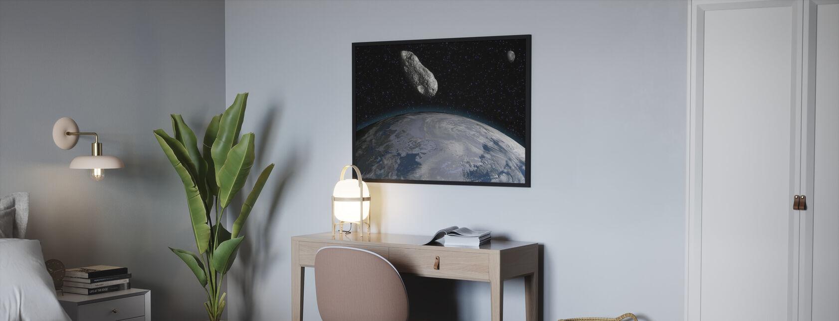 Asteroïde en Planeet Aarde - Poster - Slaapkamer
