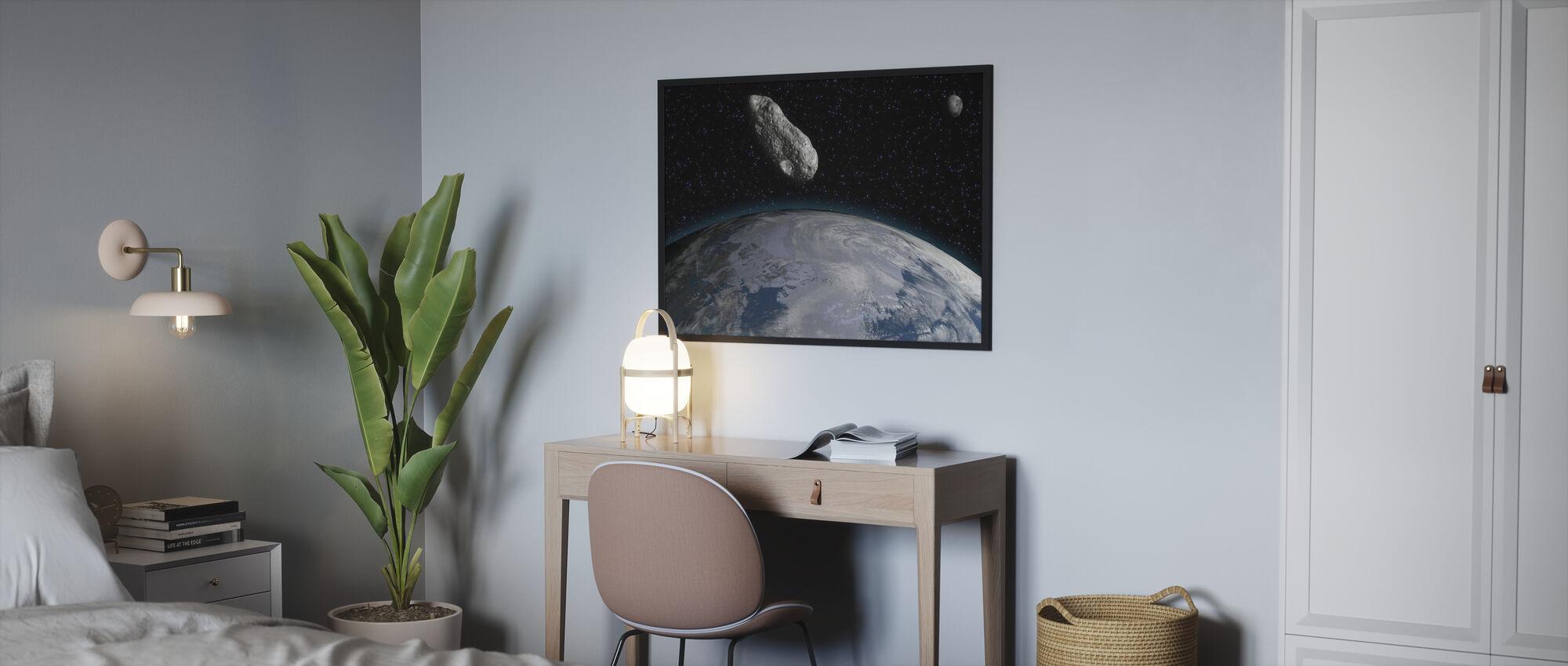 Asteroidi ja planeetta Maa - Juliste - Makuuhuone