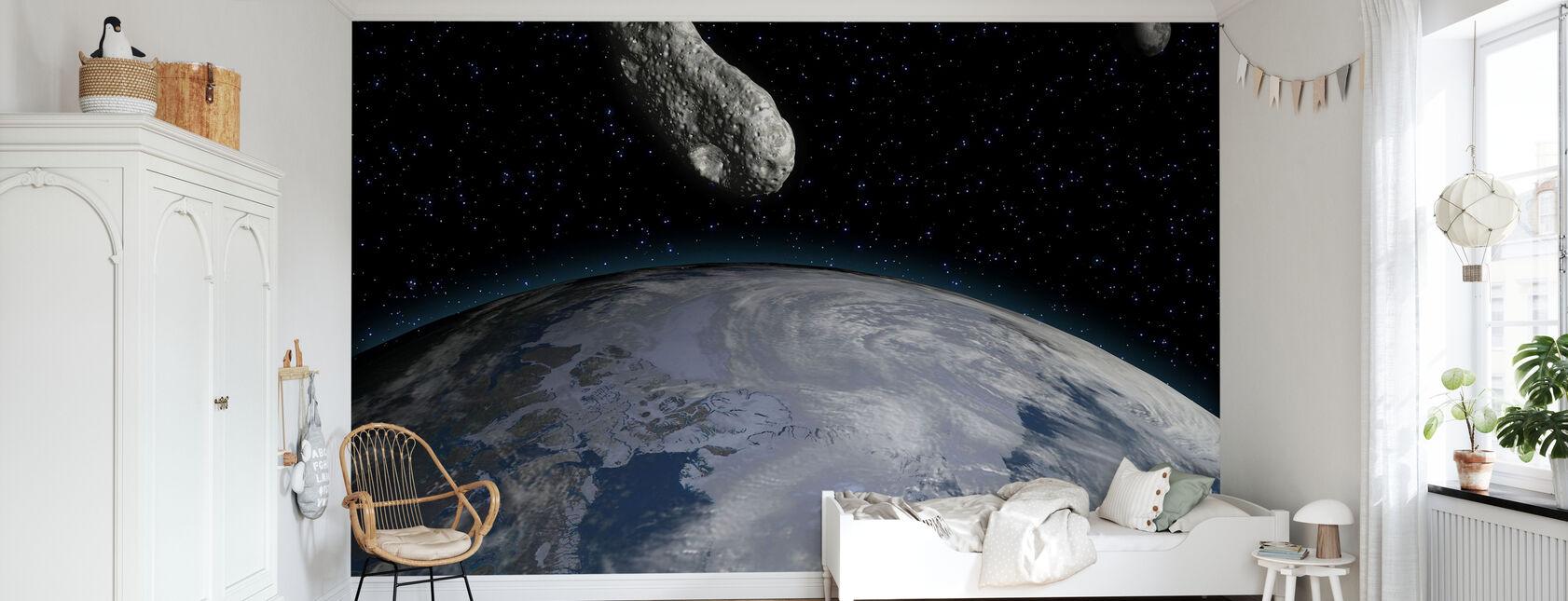 Asteroidi ja planeetta Maa - Tapetti - Lastenhuone
