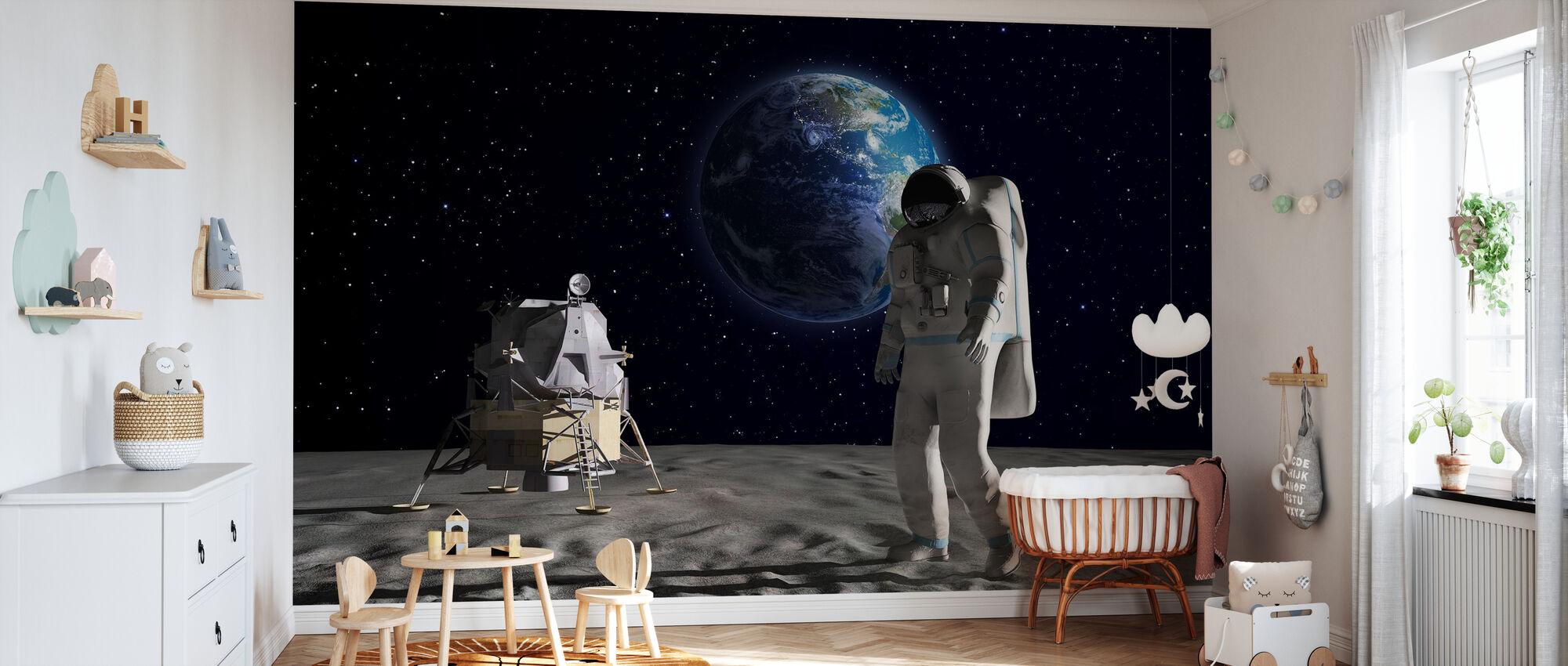Astronaut on the Moon 2 - Wallpaper - Nursery