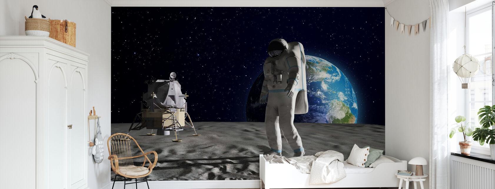 Astronautti Kuussa - Tapetti - Lastenhuone