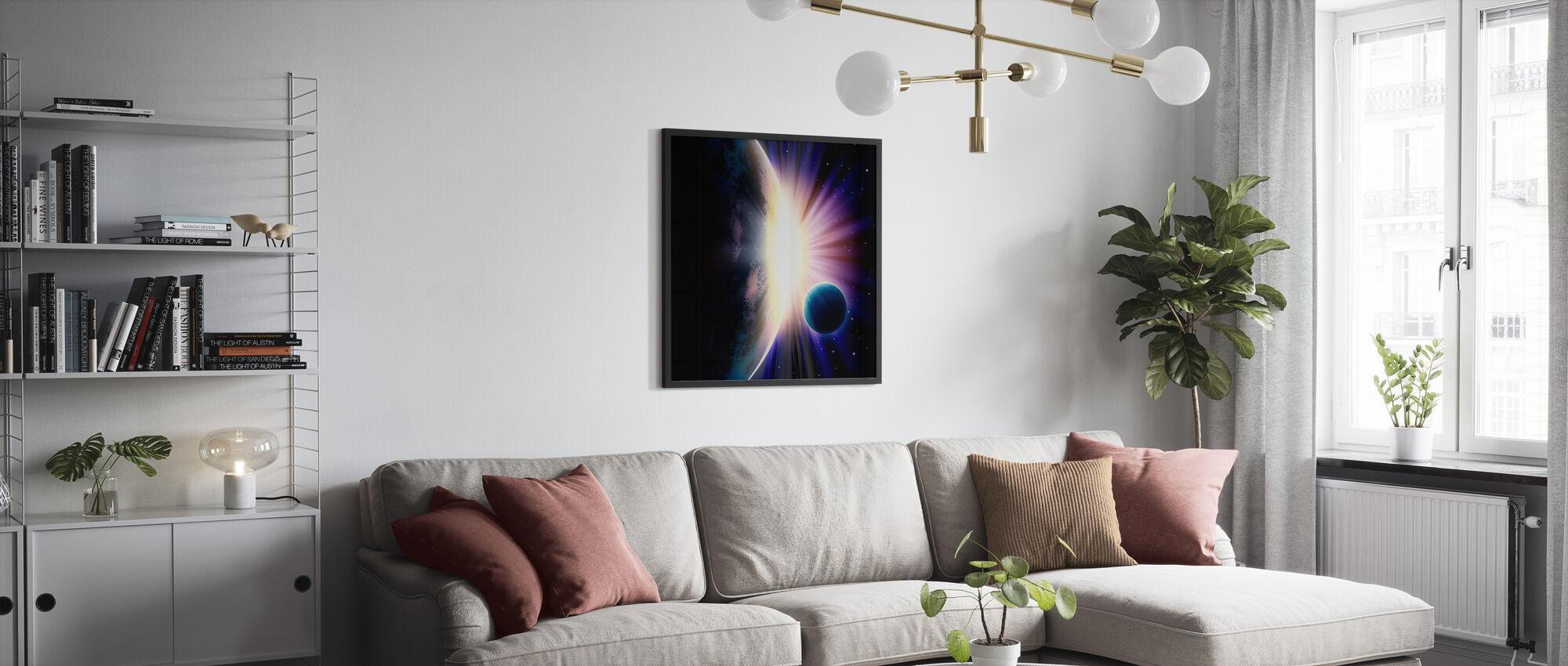 Rymd soluppgång - Inramad tavla - Vardagsrum