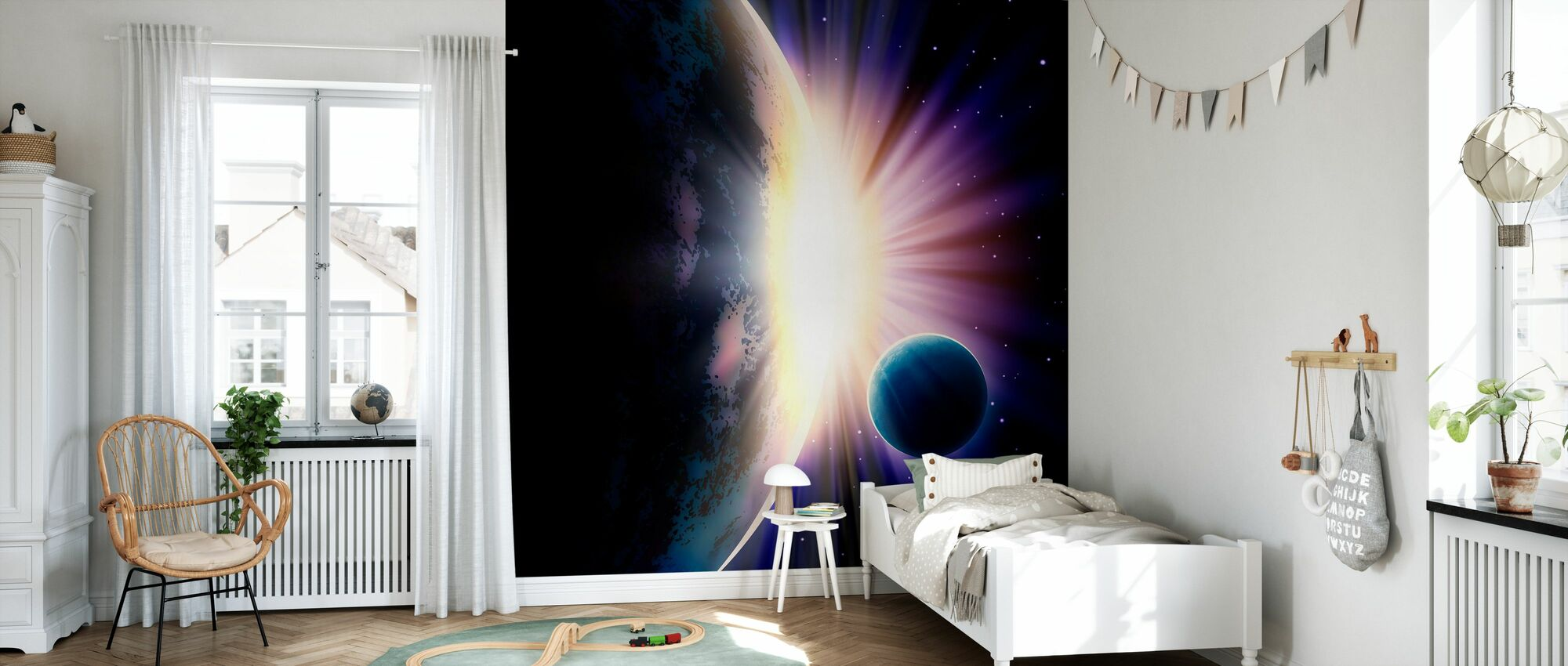 Space Sunrise - Wallpaper - Kids Room